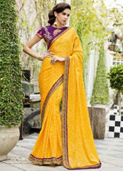 Bright Yellow Color Satin Weaving Checks Party Wear Sarees : Nishika Collection  YF-38506