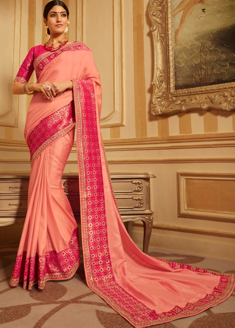 Peach Color Silk Gorgeous Designer Sarees NYF-5033