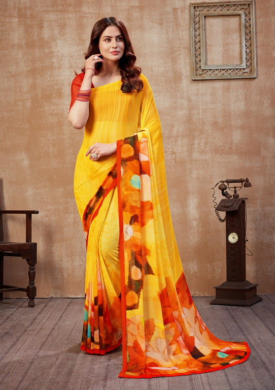 Yellow and Orange Color Georgette Casual Wear Saree -  Fulki Collection  YF#10984