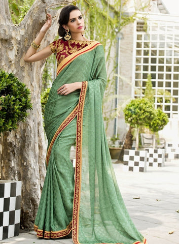 Shades Of Green Color Satin Weaving Checks Party Wear Sarees : Nishika Collection  YF-38507