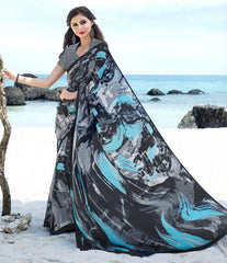 Grey, Black & Firozi Color Crepe Kitty Party Sarees : Ayushri Collection  YF-51534