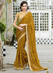 Mustard Yellow Color Satin Weaving Checks Party Wear Sarees : Nishika Collection  YF-38508