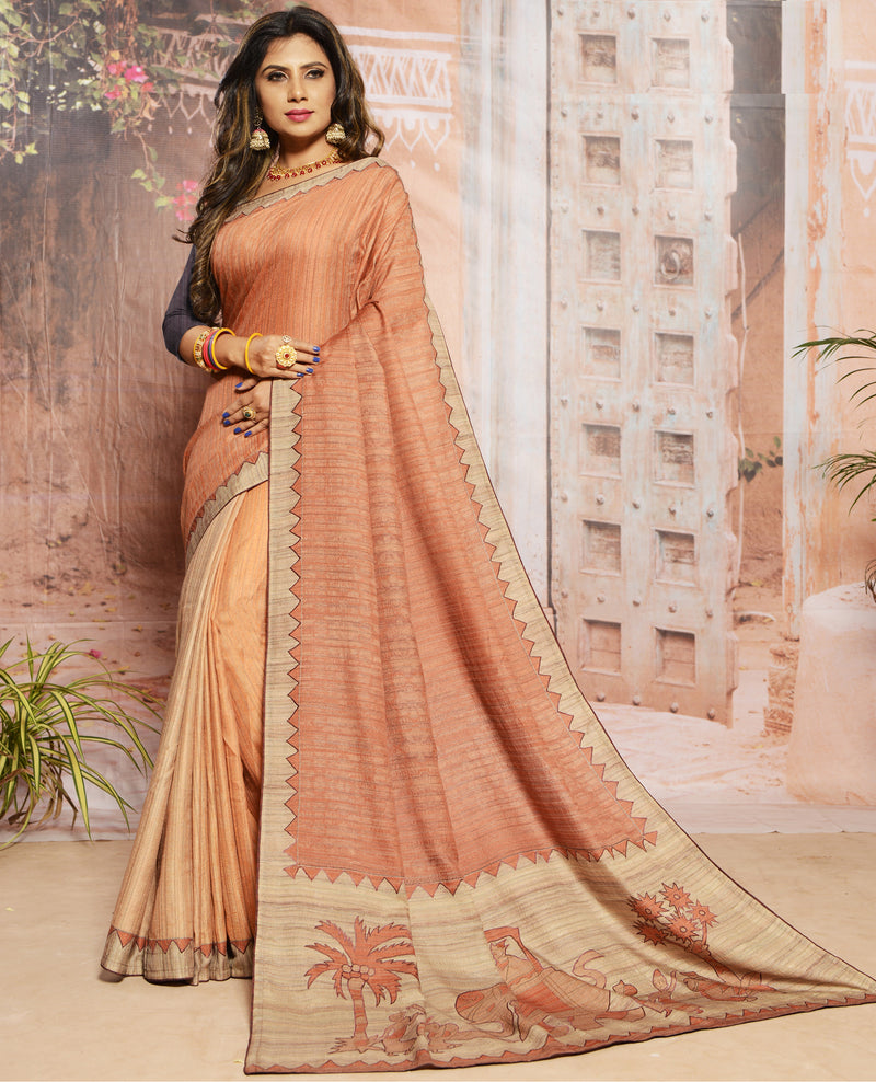 Shades Of Beige & Pink Color Raw Silk  Digital Print Festive Sarees NYF-7869