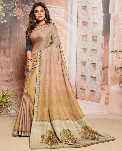 Orange Color Raw Silk Brasso Festival & Function Wear Sarees : Lavina Collection (Includes Two Blouses)  YF-48585