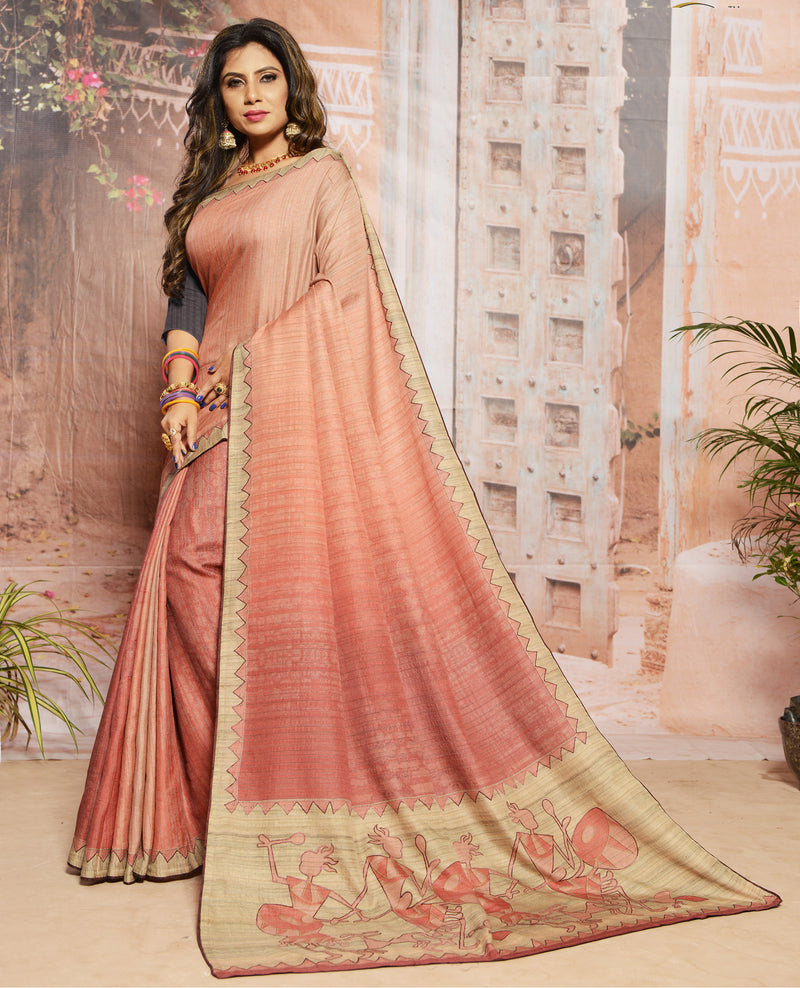 Pink Color Raw Silk  Digital Print Festive Sarees NYF-7871