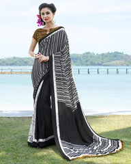 White & Black Color Crepe Kitty Party Sarees : Ayushri Collection  YF-51538