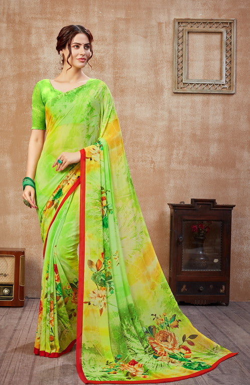 Shades of Green Color Georgette Casual Wear Saree -  Fulki Collection  YF#10985