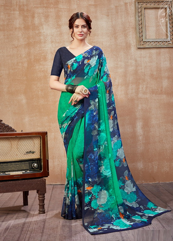 Green and Blue Color Georgette Casual Wear Saree -  Fulki Collection  YF#10987