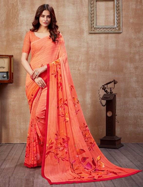 Peachish Pink Color Georgette Casual Wear Saree -  Fulki Collection  YF#10986