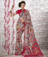 Grey & Pink Color Georgette Kitty Party Sarees : Shamli Collection  YF-45860