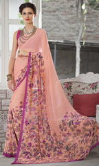 Peach Color Georgette Kitty Party Sarees : Shamli Collection  YF-45861
