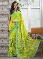 Lemon Green Color Georgette Kitty Party Sarees : Shamli Collection  YF-45862