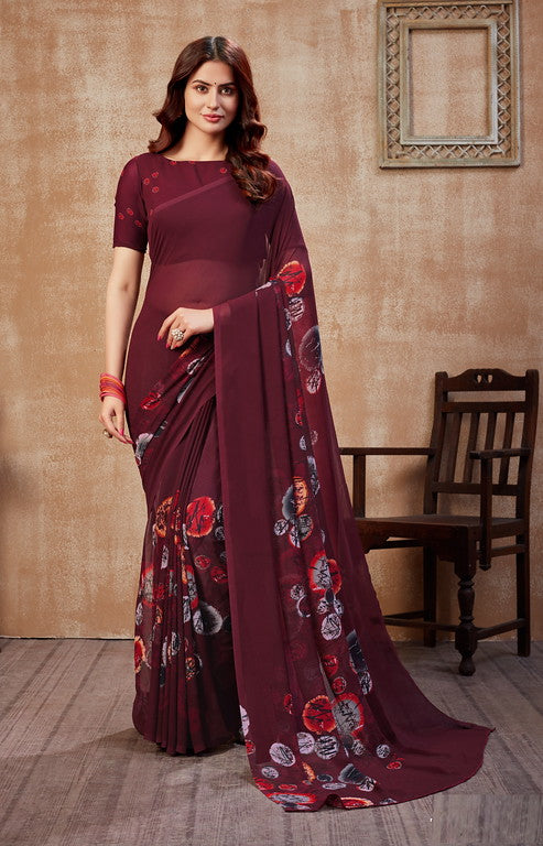 Magenta Color Georgette Casual Wear Saree -  Fulki Collection  YF#10988