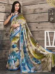 Blue Color Georgette Kitty Party Sarees : Shamli Collection  YF-45864