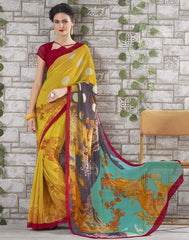 Yellow Color Georgette Kitty Party Sarees : Shamli Collection  YF-45865