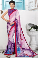 Pink & Purple Color Crepe Party Wear Sarees : Inara Collection  YF-36591
