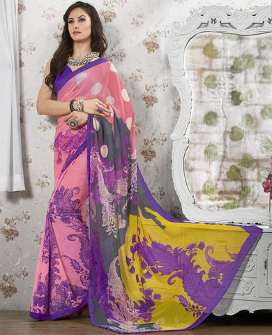 Pink Color Georgette Kitty Party Sarees : Shamli Collection  YF-45866