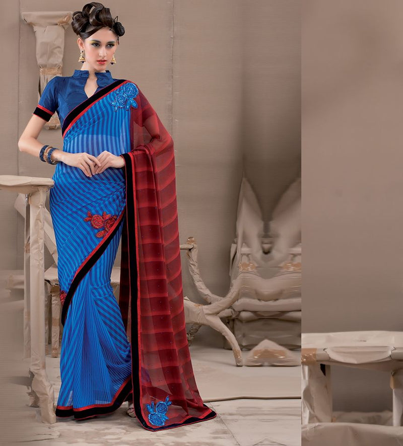 Blue & Maroon Color Georgette Party Wear Sarees : Pinati Collection  NYF-3340 - YellowFashion.in