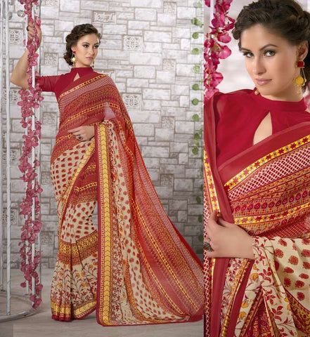 Red Color Georgette Kitty Party Sarees : Shamli Collection  YF-45867