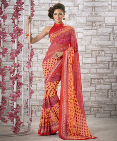 Yellow, Red & Pink Color Georgette Kitty Party Sarees : Shamli Collection  YF-45868