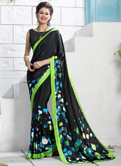Black Color Crepe Party Wear Sarees : Inara Collection  YF-36593