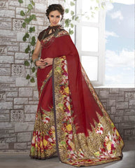 Red Color Crepe Kitty Party Sarees : Shamli Collection  YF-45871