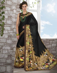 Black Color Crepe Kitty Party Sarees : Shamli Collection  YF-45872