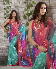 Pink & Sea Green Color Georgette Kitty Party Sarees : Shamli Collection  YF-45873