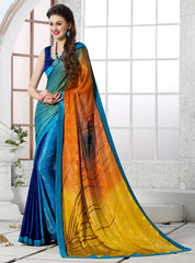 Blue & Yellow Color Crepe Party Wear Sarees : Inara Collection  YF-36595