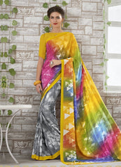 Yellow & Grey Color Georgette Kitty Party Sarees : Shamli Collection  YF-45874