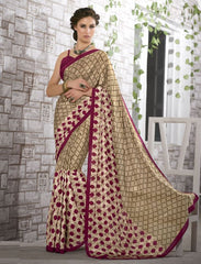 Light Coffee & Pink Color Crepe Kitty Party Sarees : Shamli Collection  YF-45875