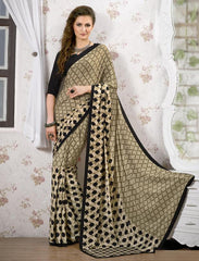 Light Coffee & Black Color Crepe Kitty Party Sarees : Shamli Collection  YF-45876