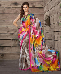 Multi Color Crepe Kitty Party Sarees : Shamli Collection  YF-45877