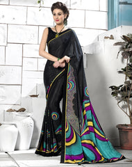 Black Color Crepe Party Wear Sarees : Inara Collection  YF-36597