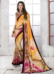 Orange & Brown Color Crepe Party Wear Sarees : Inara Collection  YF-36598