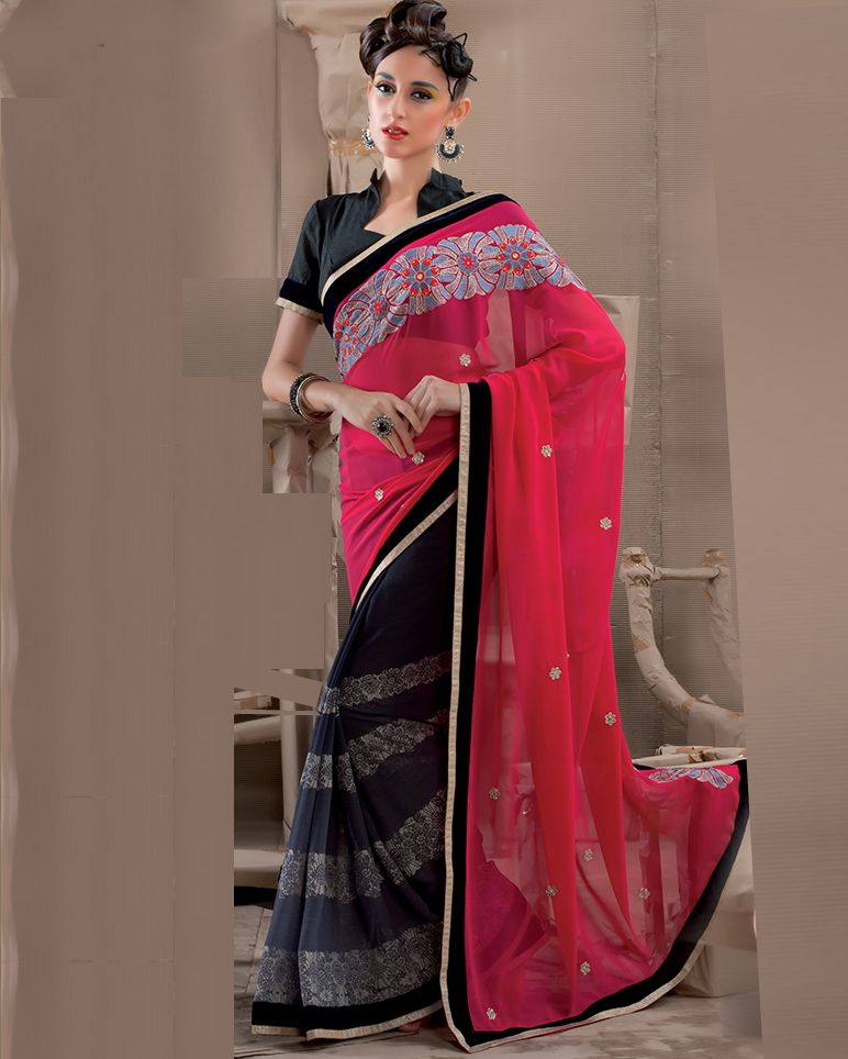 Pink Color Georgette Party Wear Sarees : Pinati Collection  NYF-3343 - YellowFashion.in