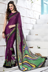 Magenta Color Crepe Party Wear Sarees : Inara Collection  YF-36599