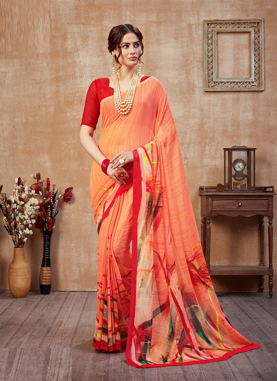 Orange and Red Color Georgette Casual Wear Saree -  Fulki Collection  YF#10989