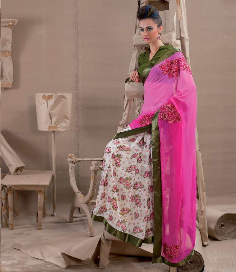 Pink & Off White Color Chiffon Party Wear Sarees : Pinati Collection  NYF-3344 - YellowFashion.in