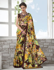 Yellow & Brown Color Crepe Kitty Party Sarees : Shamli Collection  YF-45881