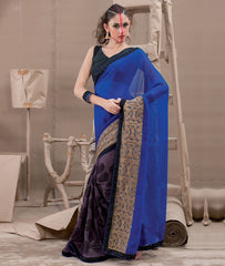 Burgandy & Blue Color Georgette Party Wear Sarees : Sunheri Collection  YF-37379