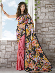 Pink & Black Color Crepe Kitty Party Sarees : Shamli Collection  YF-45882