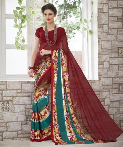 Maroon Color Georgette Kitty Party Sarees : Shamli Collection  YF-45885
