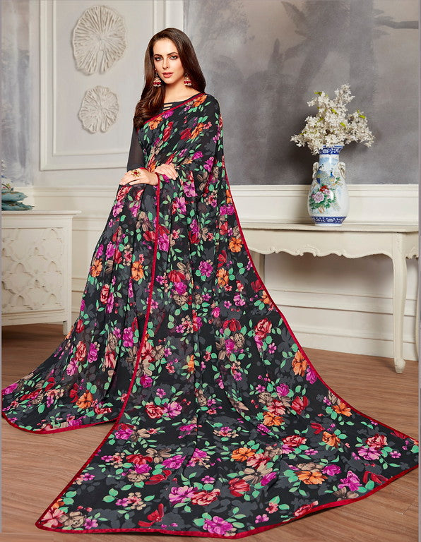Black Color Georgette Casual Wear Saree -  Keshvi Collection  YF#10581