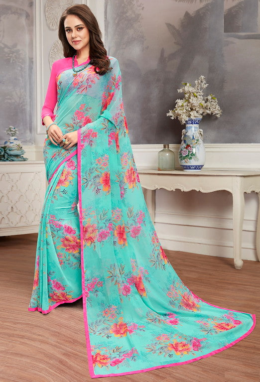 Blue and Pink Color Georgette Casual Wear Saree -  Keshvi Collection  YF#10584