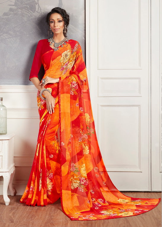 Yellow and Red Color Georgette Casual Wear Saree -  Keshvi Collection  YF#10585
