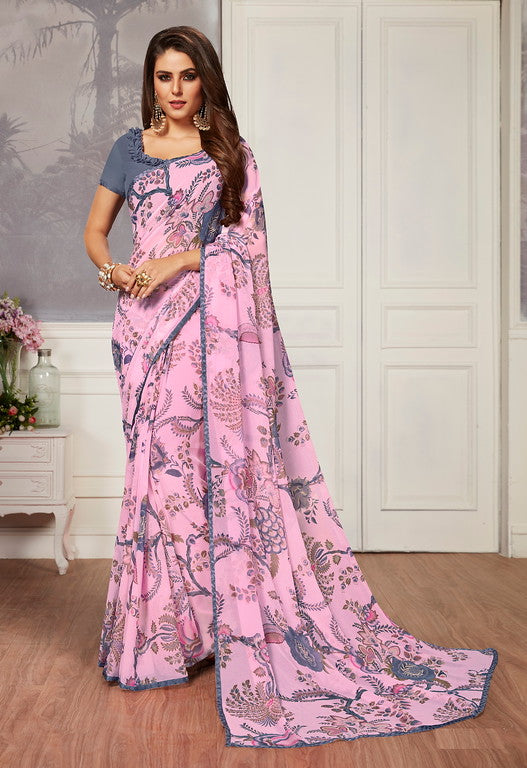 Baby Pink and Grey Color Georgette Casual Wear Saree -  Keshvi Collection  YF#10588