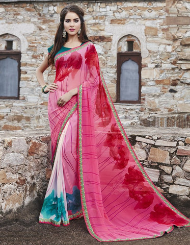 Pink Color Georgette Party Wear Sarees : Runzun Collection  YF-46457