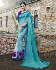 Sea Green Color Georgette Party Wear Sarees : Runzun Collection  YF-46458