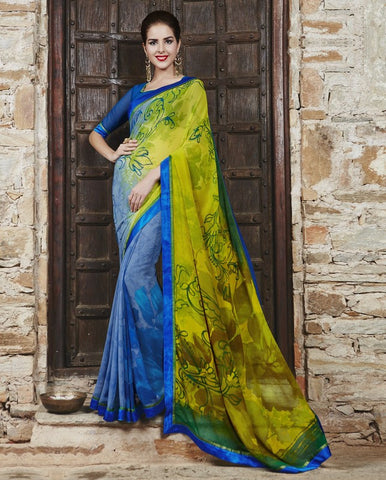 Blue & Yellow Color Georgette Party Wear Sarees : Runzun Collection  YF-46459
